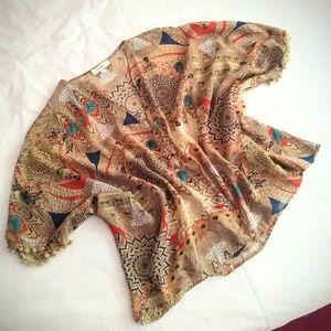 UMGEE Multi Print Sheer Kimono Batwing Top
